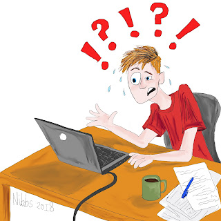 Cartoon: a young white man with blonde hair sits at a laptop, with a pile of papers and a pen next to him. He looks confused or exasperated.