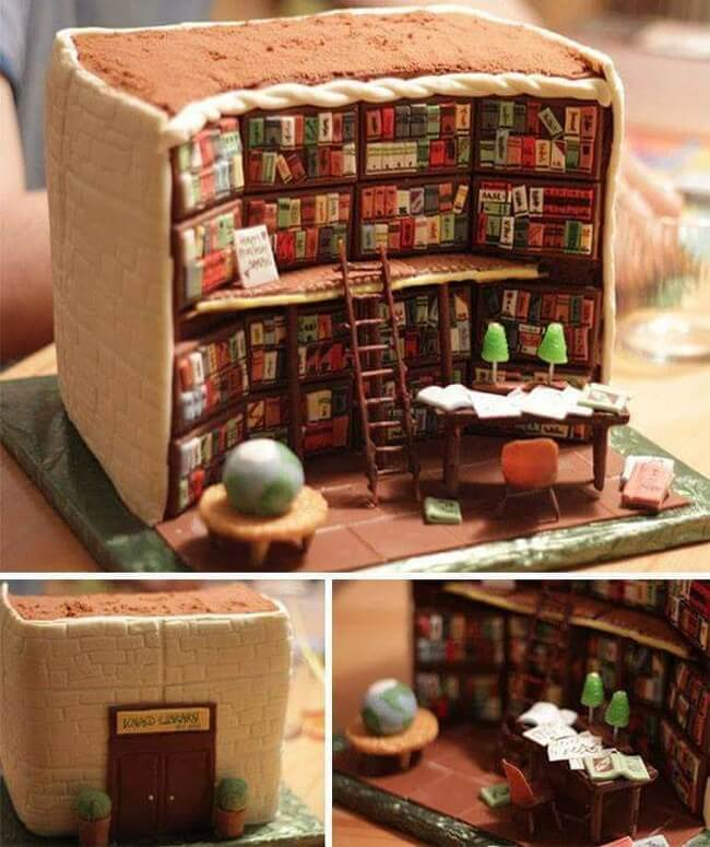 24 Spectacular Pictures Of Cakes That Gave Us Ideas For Our Birthdays - So cozy! Are there bookstores like this in my city