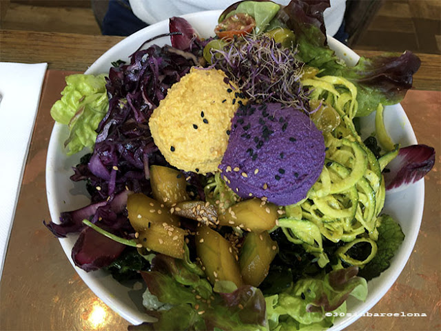 Colorful vegetarian dish, in Flax and Kale Restaurant