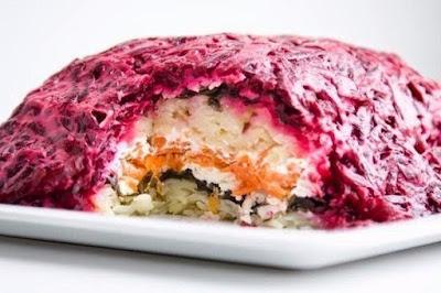 Постный салат «Под шубой» (вегетарианский)