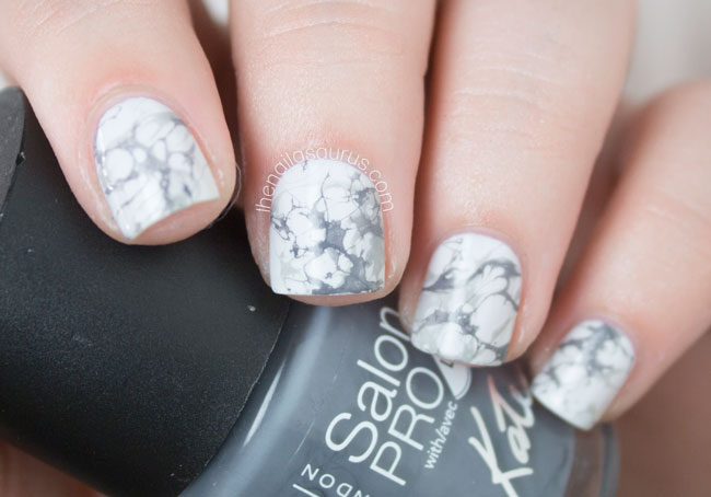 White Marble Effect Nail Art