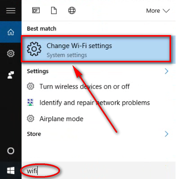 Chọn Change Wi-Fi settings