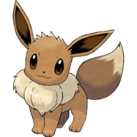 Imagen de Eevee, Pokemon perro de color marrón, con una collar de pelos blancos tipo golilla pero sin pliegues.