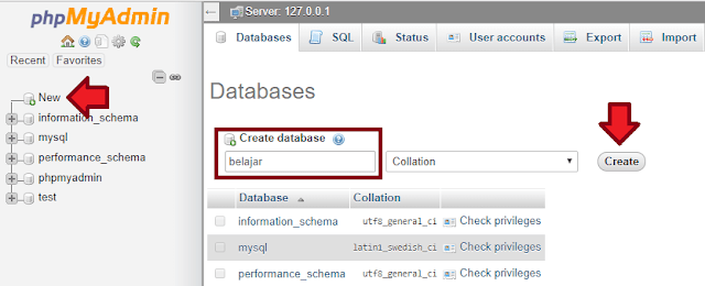 cara membuat sebuah database di phpMyAdmin