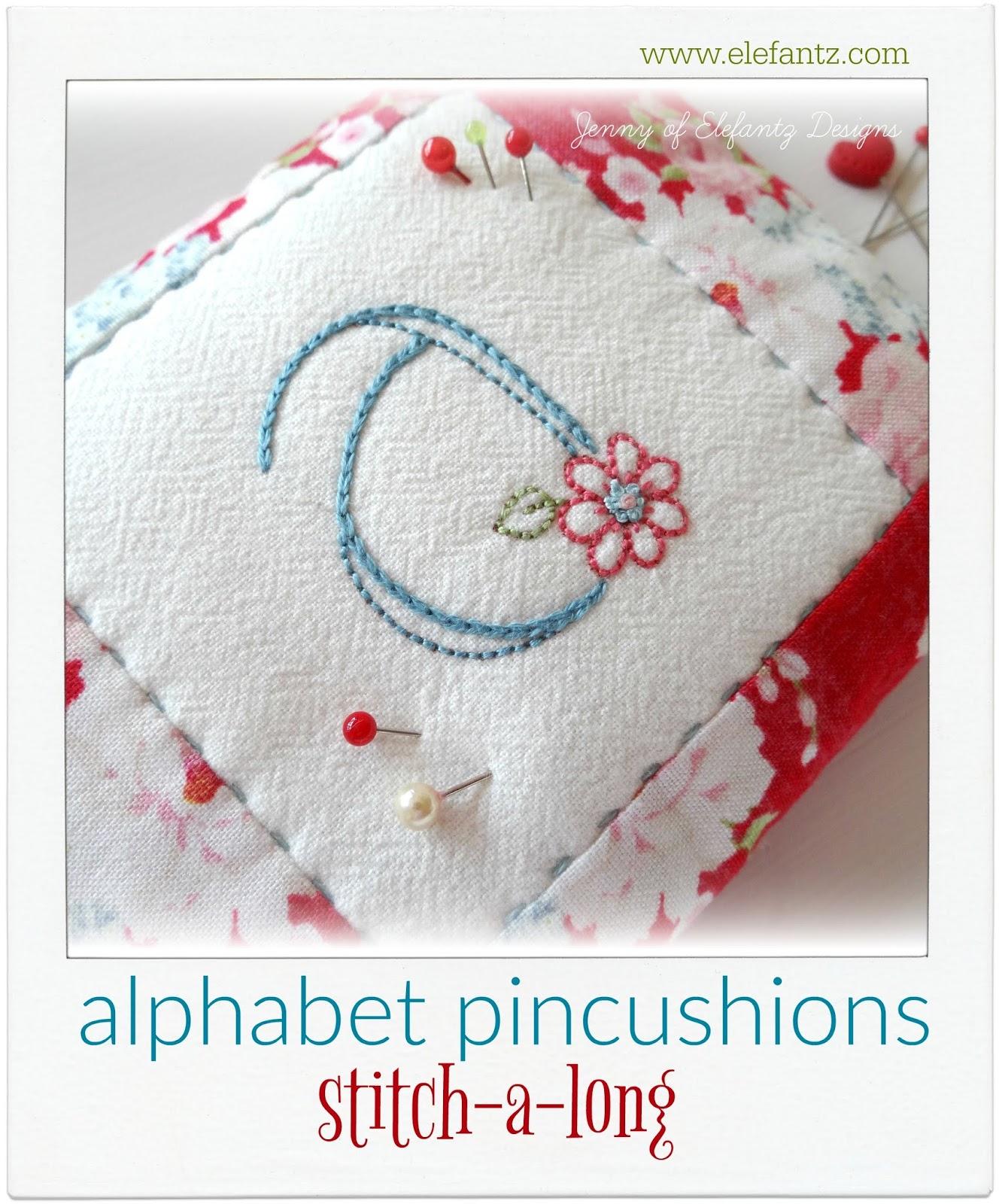 Jenny of ELEFANTZ: Week One - alphabet pincushions...