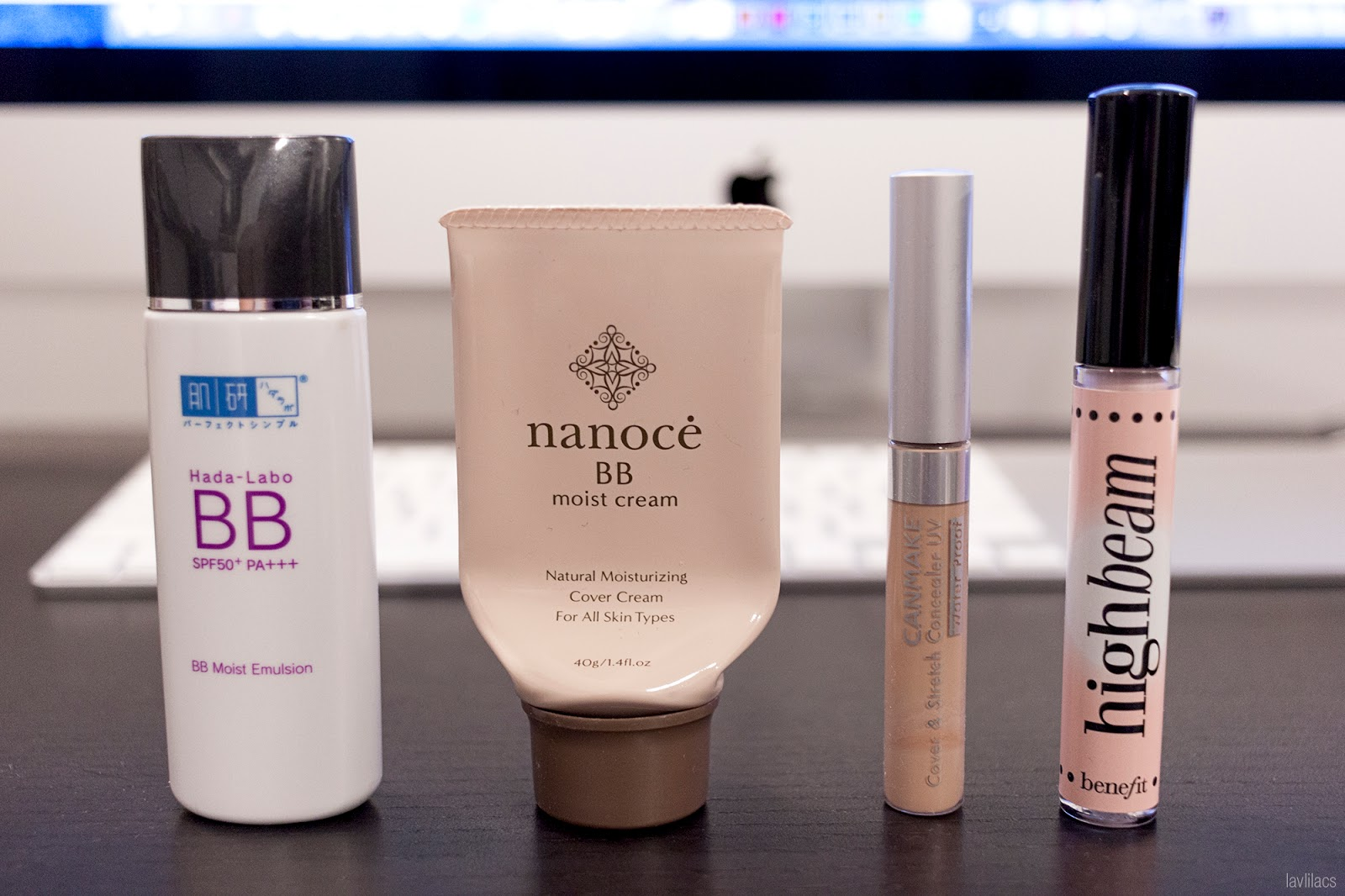 Hada Labo BB Moist Emulsion, Nanoce BB Cream, Canmake Cover & Stretch Concealer UV, Benefit Highbeam highlighter end results