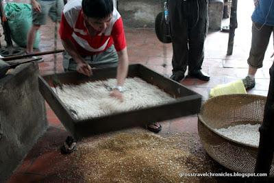 sifting puffed rice
