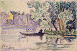 Fisherman in a Boat Near a Bank of the Seine by Paul Signac - Landscape, Genre Paintings from Hermitage Museum