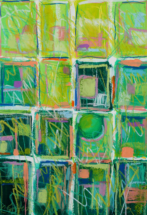 Carol Engles Art Lime Quilt Abstract Mixed Media Green