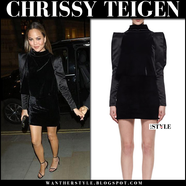 Chrissy Teigen in black velvet mini dress tom ford and black sandals saint laurent september 2017 night out style