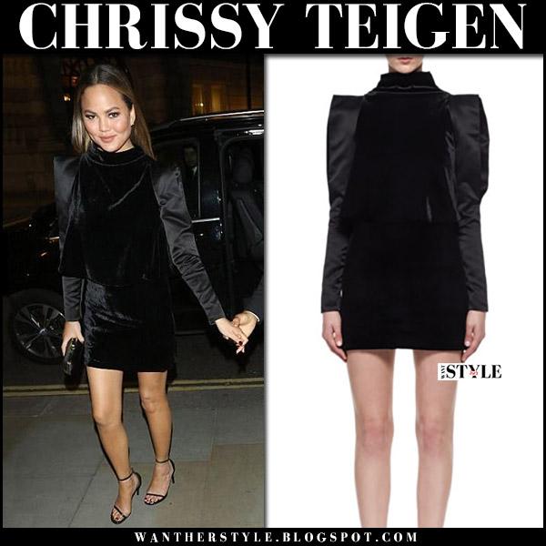 Chrissy Teigen in black velvet mini dress tom ford and black sandals saint laurent september 2017 night out style