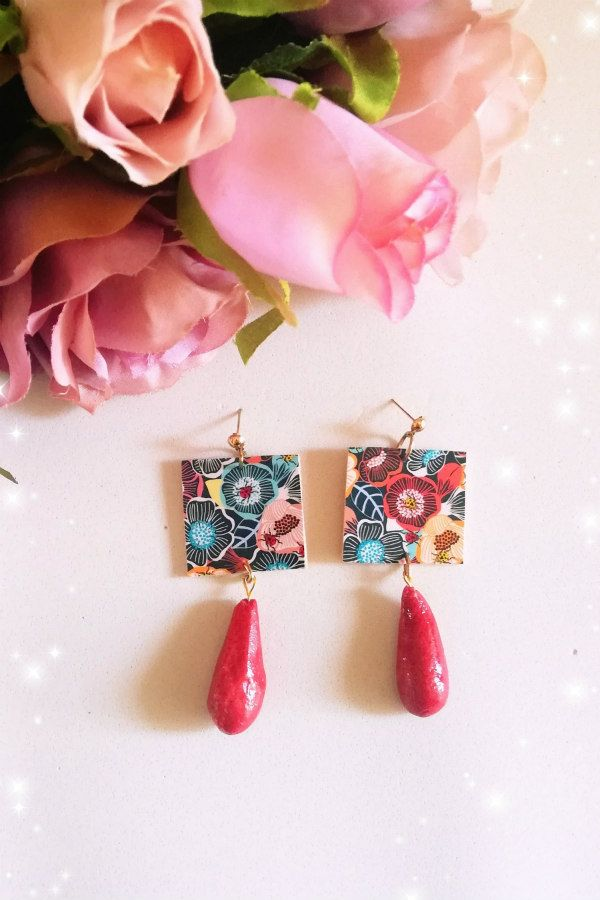 floral patterned paper and rustic bead earrings