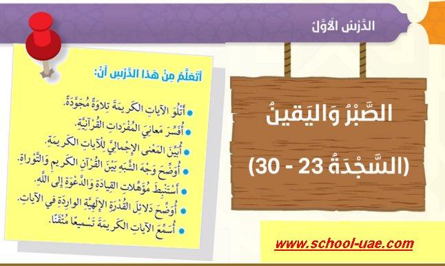 حل درس الصبر واليقين مادة التربية الاسلامية للصف السادس الفصل الدراسى الثانى 2020 الامارات