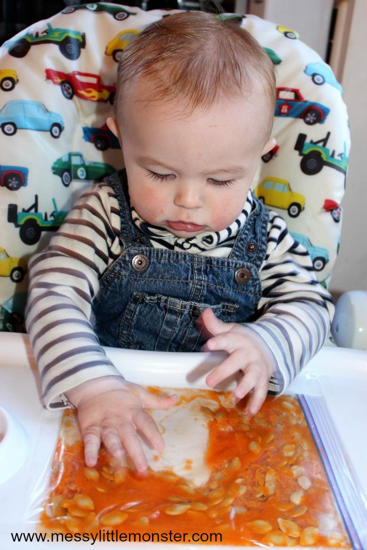 sensory bags for infants - pumpkin sensory bag