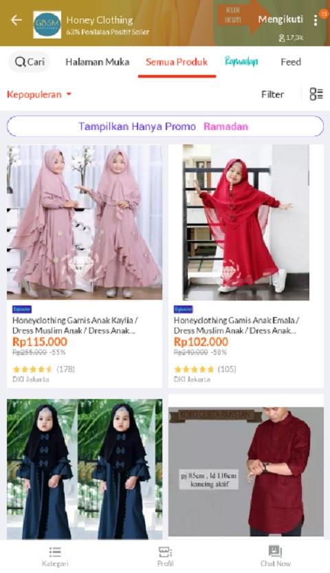 Honey Clothing Sebagai Toko Baju Muslim Anak Terlaris di Lazada