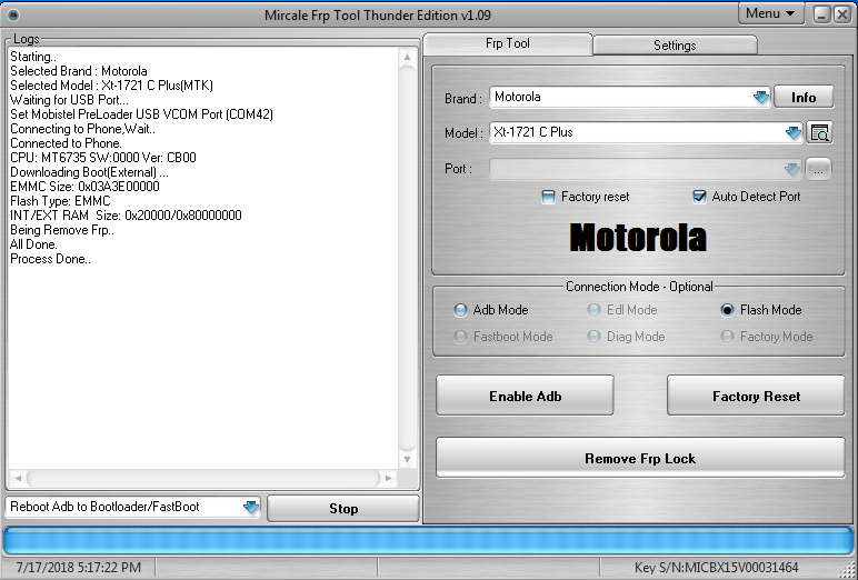 Moto C Plus XT1721 FRP Remove Done In One Click By Miracle