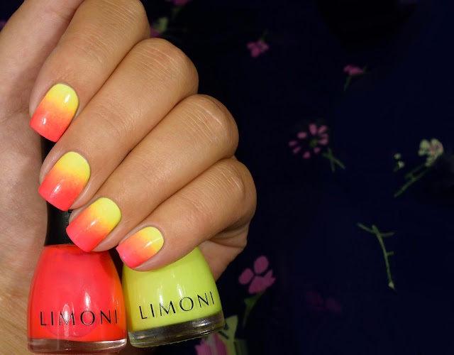 Limoni Neon Collection 591 и 593 на белой подложке градиент