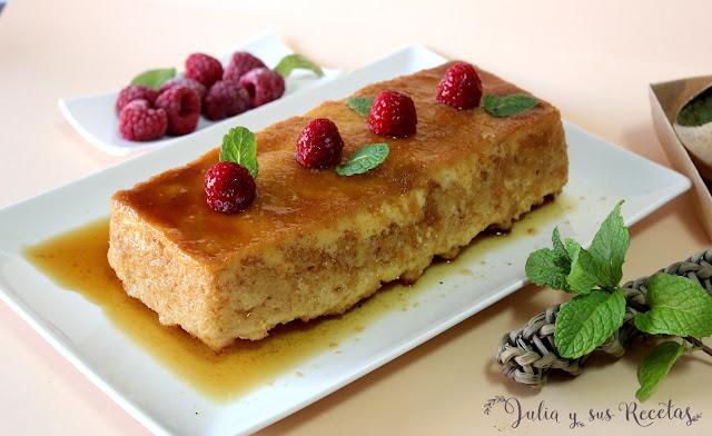 Pudin de pan con aroma de limón, sin gluten. Julia y sus recetas