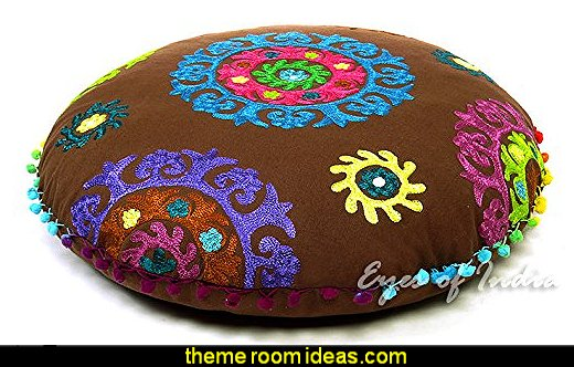 BROWN ROUND DECORATIVE FLOOR CUSHION PILLOW POUF COVER Bohemian Boho Decor
