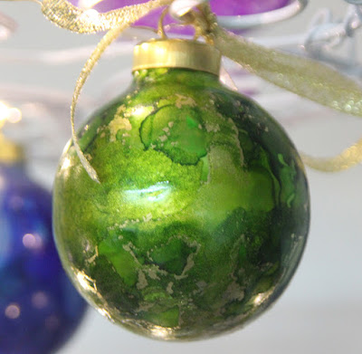 green gold alcohol ink ornament