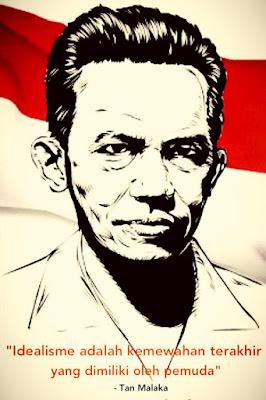 """Biografi Tan Malaka  Dia kukuh mengkritik terhadap pemerintah kolonial Hindia-Belanda maupun pemerintahan republik di bawah Soekarno pasca-revolusi kemerdekaan Indonesia. Walaupun berpandangan komunis, ia juga sering terlibat konflik dengan kepemimpinan Partai Komunis Indonesia (PKI).  Tan Malaka menghabiskan sebagian besar hidupnya dalam pembuangan di luar Indonesia, dan secara tak henti-hentinya terancam dengan penahanan oleh penguasa Belanda dan sekutu-sekutu mereka. Walaupun secara jelas disingkirkan, Tan Malaka dapat memainkan peran intelektual penting dalam membangun jaringan gerakan komunis internasional untuk gerakan anti penjajahan di Asia Tenggara. Ia dinyatakan sebagai """"Pahlawan revolusi nasional"""" melalui ketetapan parlemen dalam sebuah undang-undang tahun 1963.  Tan Malaka juga seorang pendiri partai Murba, berasal dari Sarekat Islam (SI) Jakarta dan Semarang. Ia dibesarkan dalam suasana semangatnya gerakan modernis Islam Kaoem Moeda di Sumatera Barat. Tokoh ini diduga kuat sebagai orang di belakang peristiwa penculikan Sutan Sjahrir bulan Juni 1946 oleh """"sekelompok orang tak dikenal"""" di Surakarta sebagai akibat perbedaan pandangan perjuangan dalam menghadapi Belanda.  Pada tahun 1921 Tan Malaka telah terjun ke dalam gelanggang politik. Dengan semangat yang berkobar dari sebuah gubuk miskin, Tan Malaka banyak mengumpulkan pemuda-pemuda komunis. Pemuda cerdas ini banyak juga berdiskusi dengan Semaun (wakil ISDV) mengenai pergerakan"""