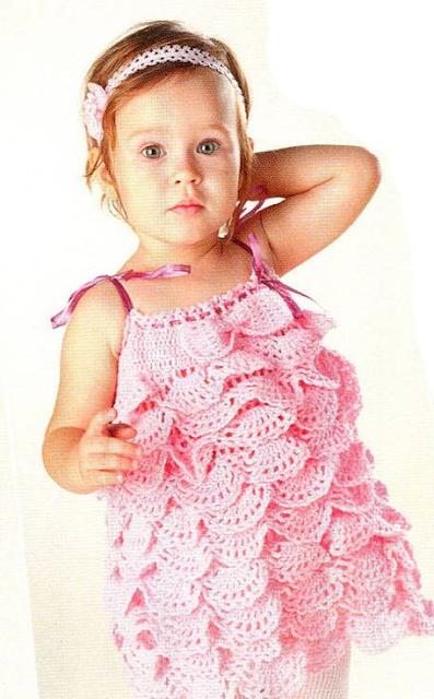 Vestido Infantil Ondas de Crochet Patron