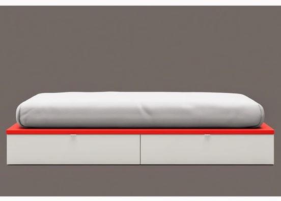 cama juvenil blanca y roja