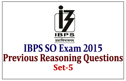 Previous Reasoning Questions for IBPS Specialist Officer Exam 2015