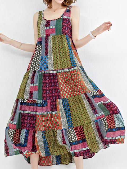 Bohemian Patchwork Sleeveless O-Neck Long Maxi Dresses