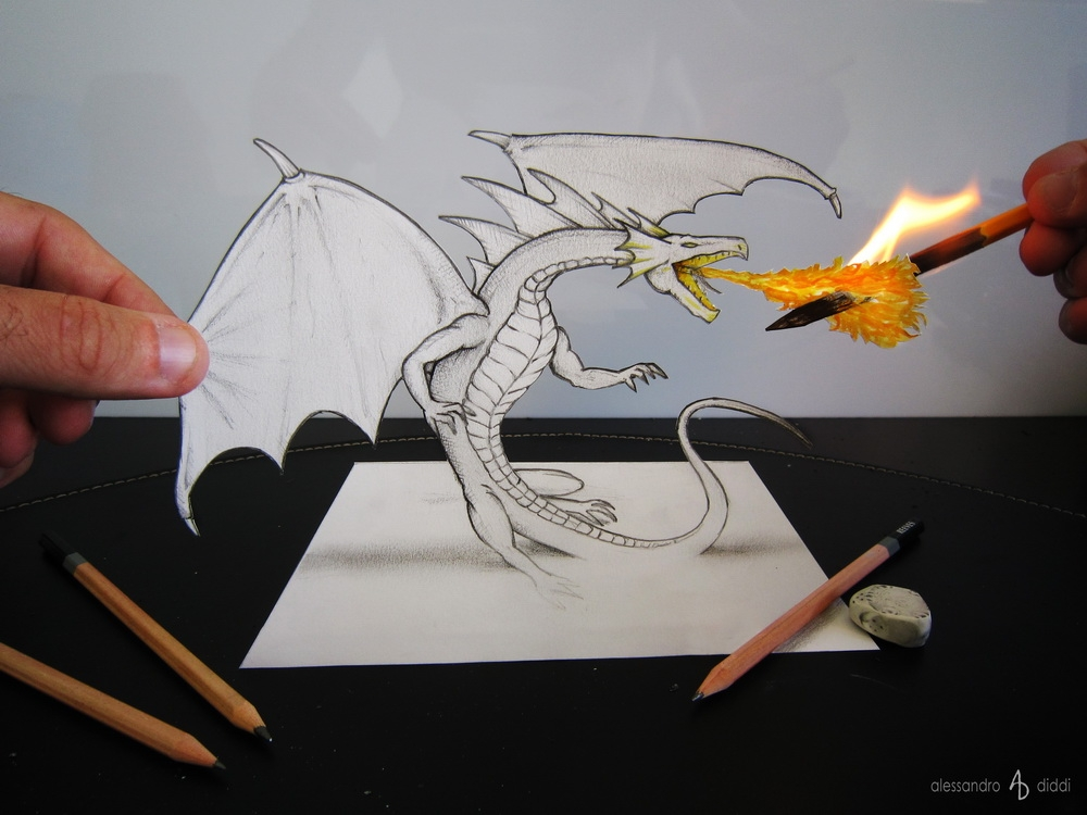 01-Little-Fire-Dragon-Alessandro-Diddi-Anamorphic-Optical-Illusions-that-look-like-3D-Drawings-www-designstack-co