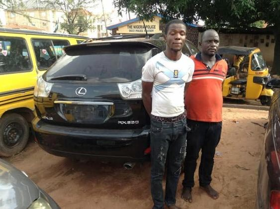 Photos: Police nab car dealer, painter who resprays stolen vehicles in Enugu State