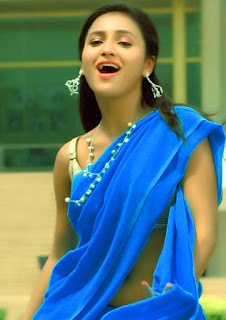 Sarayu Hot Navel Show in Blue Saree Navel Queens