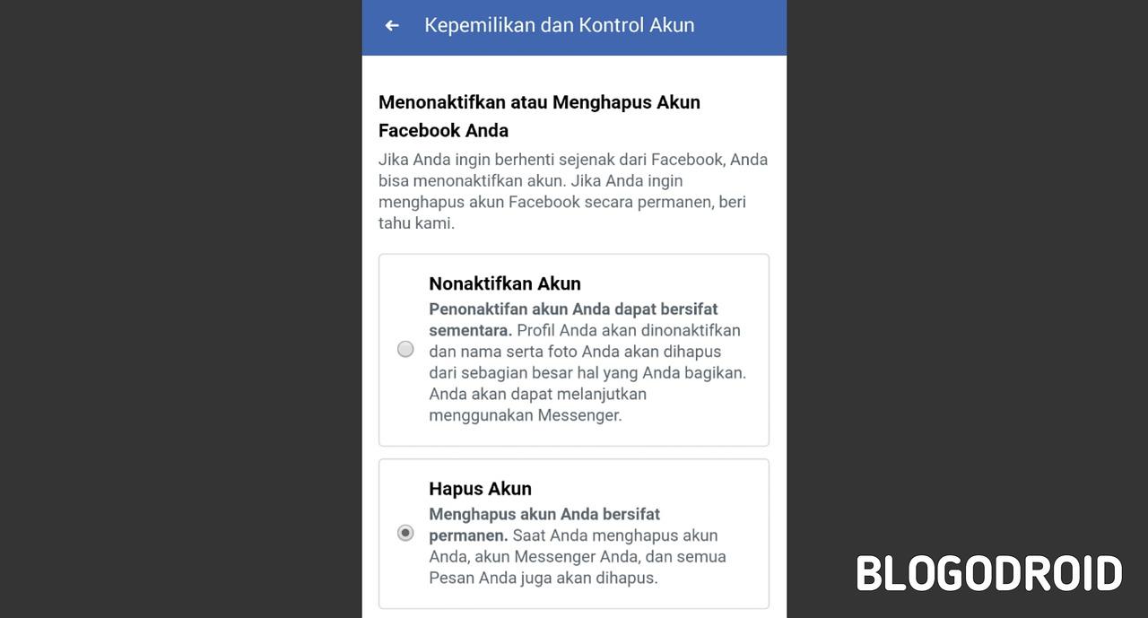 Image cara hapus akun facebook