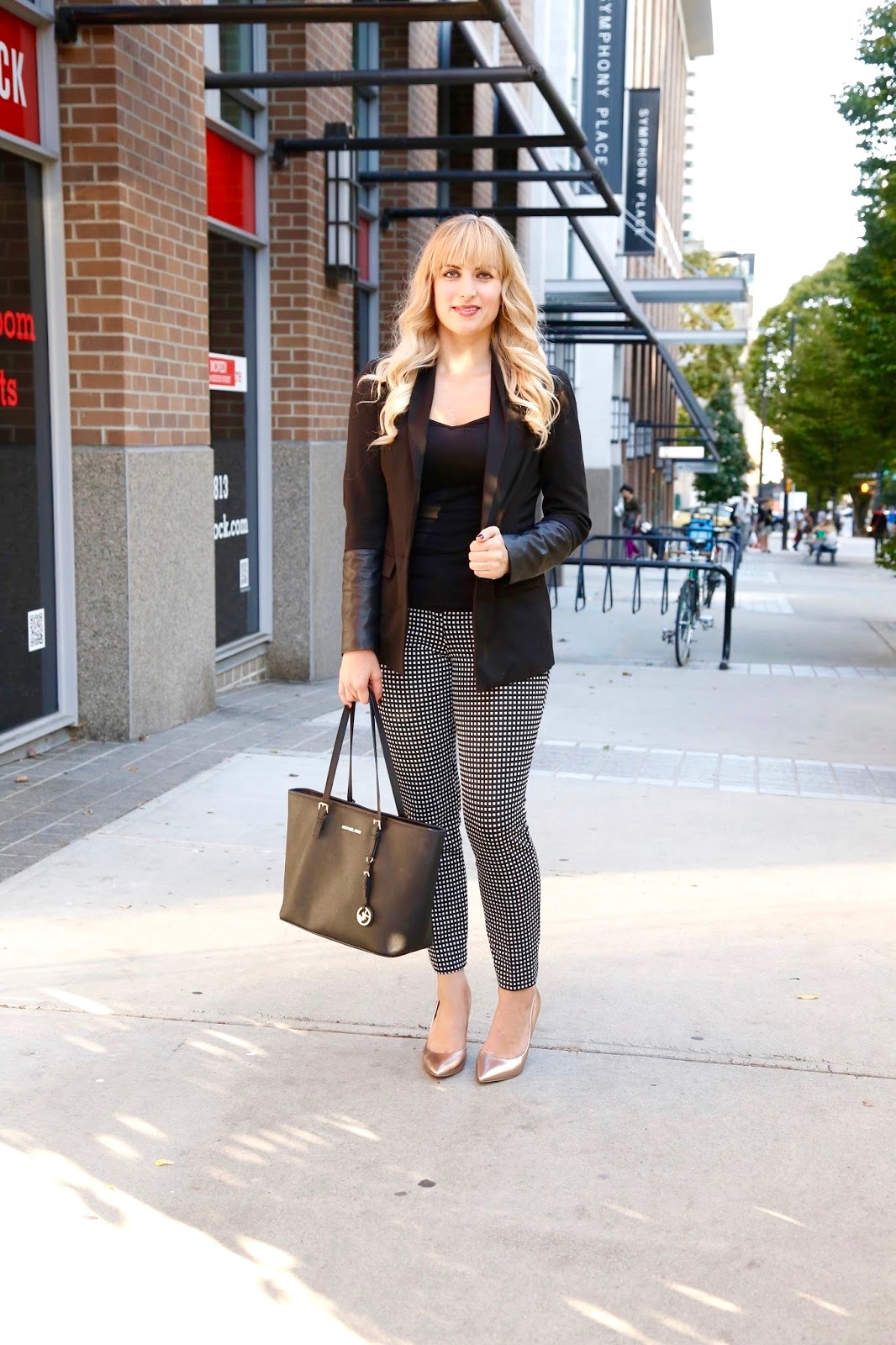 office wear leather detailing blazer