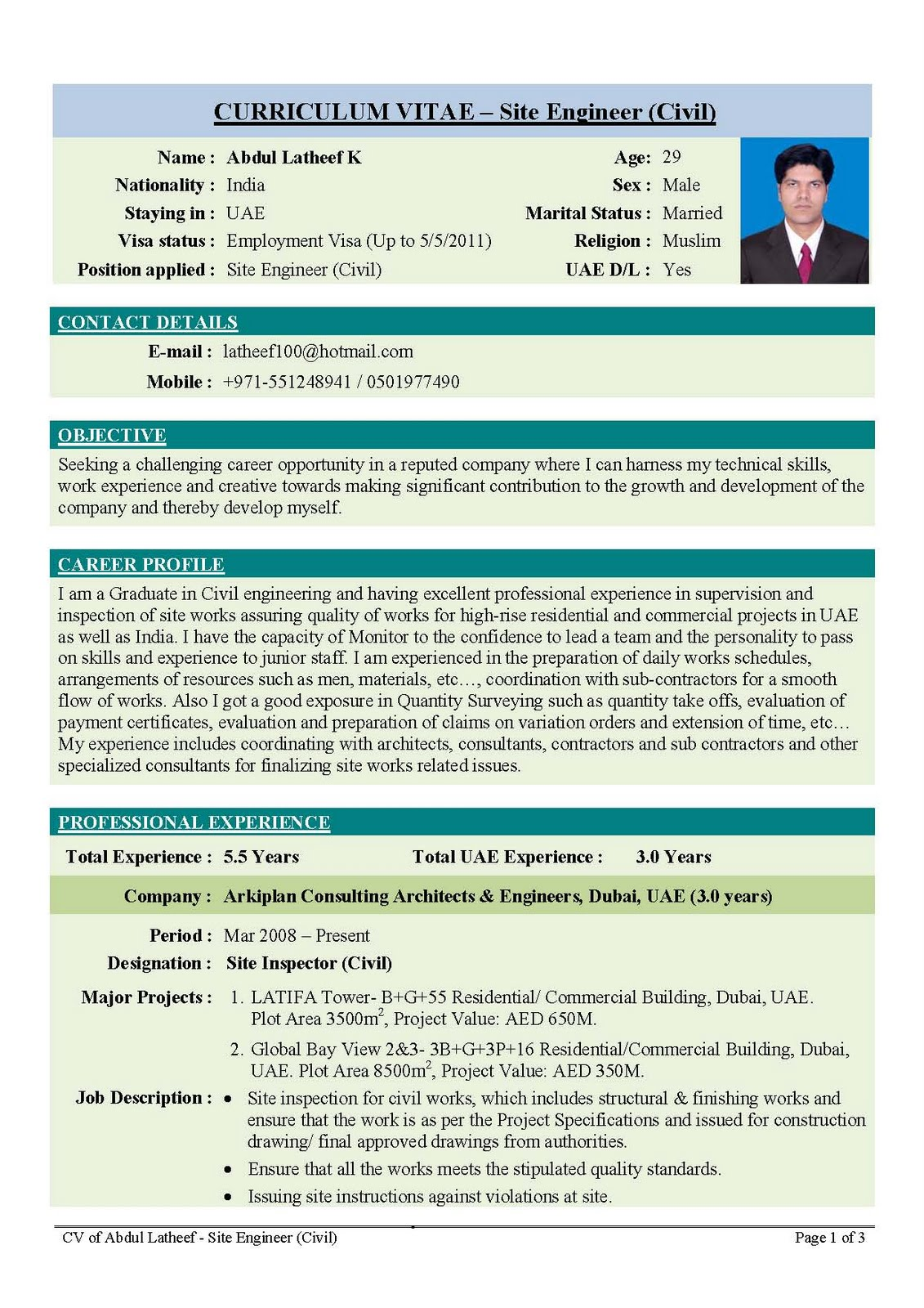 Superieur Sample Template Of An Excellent Fresher Resume My First Resume