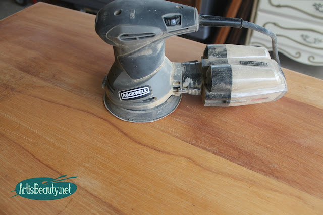 vintage beat up old desk gets boho style makeover sanding the top makeover rockwell orbital sander