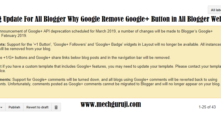 Big Update For All Blogger Why Google Remove Google+ Button
