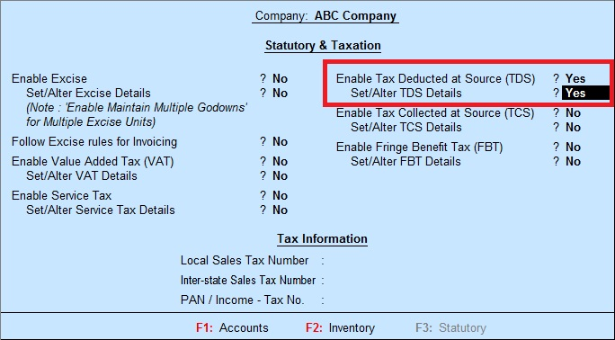 Tally Education T D S Tax Deducted At Sources