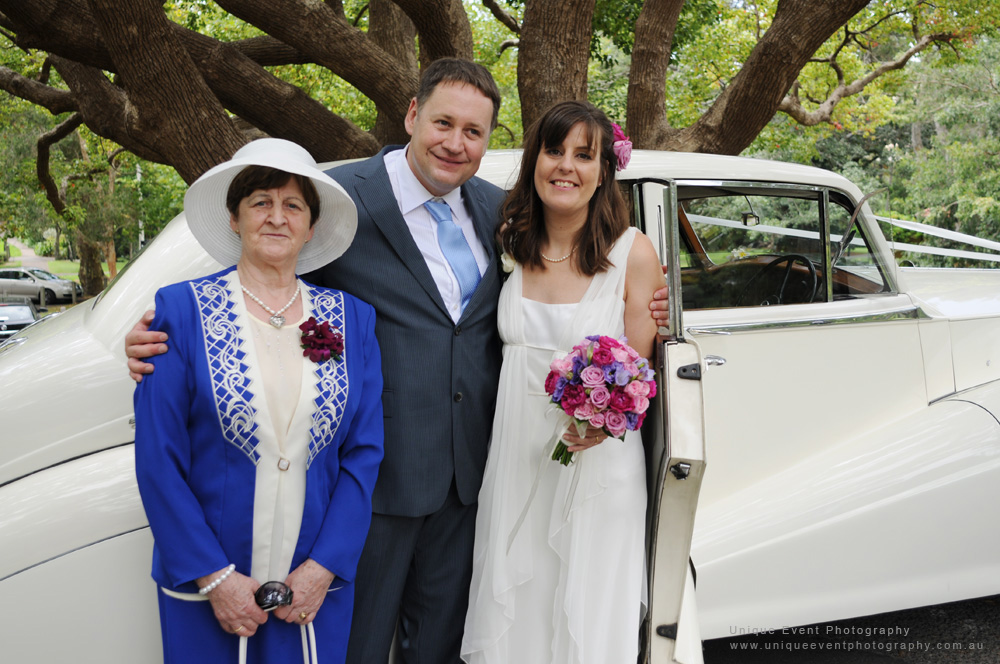 Mother of groom, with Bride and Groom, Garden Wedding Photographer Sydney,