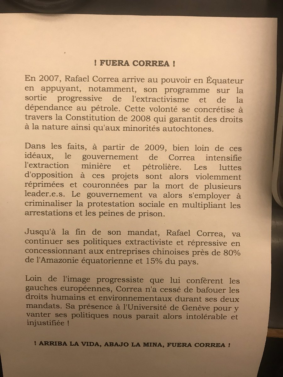 Président de l'Equateur Correa à Genève