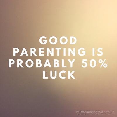 "The words ""good parenting is probably 50% luck"" on a gold background"