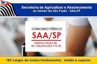 Apostila Secretaria de Agricultura-SP - Concurso SAA/SP 2017