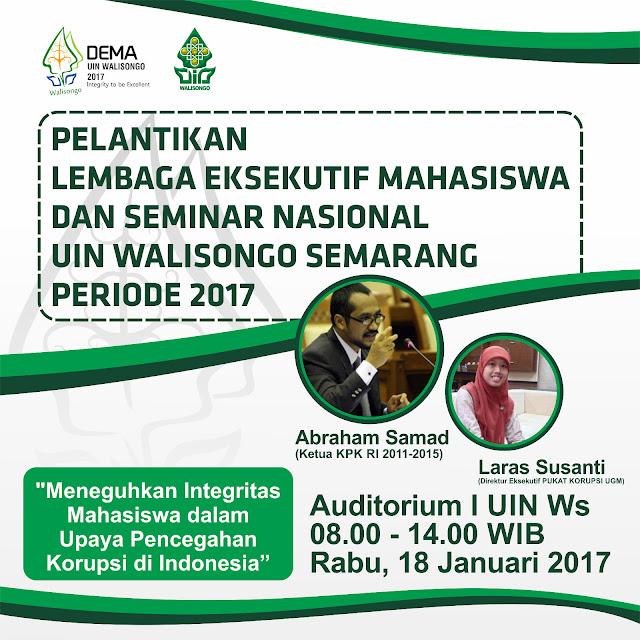 Pamflet Pelantikan dan Seminar DEMA UIN Walisongo, Rabu (18/1).