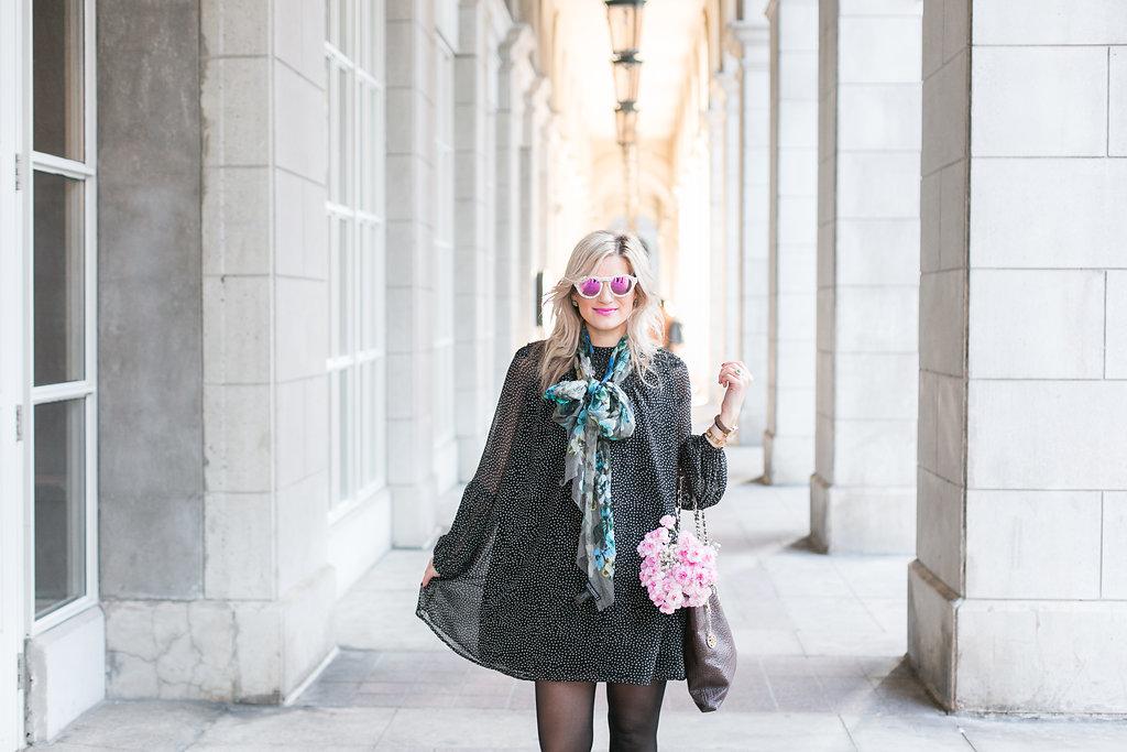 Bijuleni - How to overcome failure + #ootd. Polka dot shift mini dress, black tights, and turquoise flats