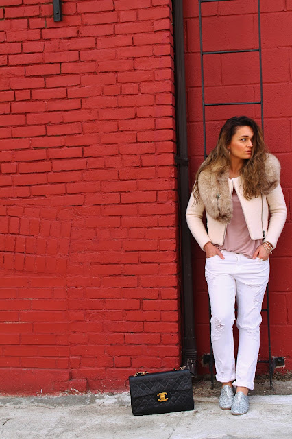 Pedro Garcia shoes, sparkly shoes, casual outfit with oxfords, canadian fashoin blogger, white ripped jeans, banana republic jacket, cropped jacket, spring trend cropped jacket, chanel classic bag, chanel bag