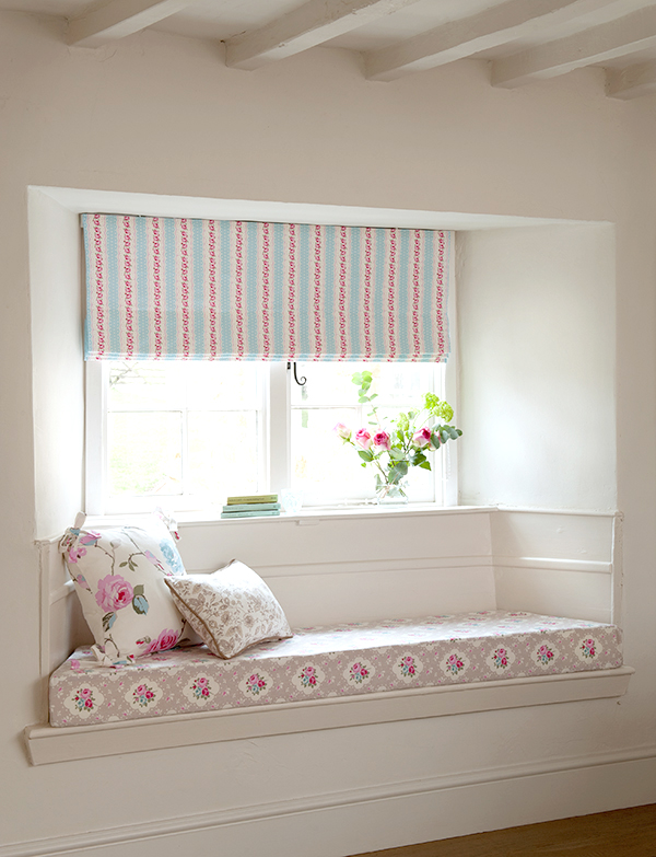 This floral fabric blind is gorgeous and that DIY window seat is beautiful. DIY handmade cushions with trim by Clarke and Clarke! This is perfect inspiration for your sewing projects
