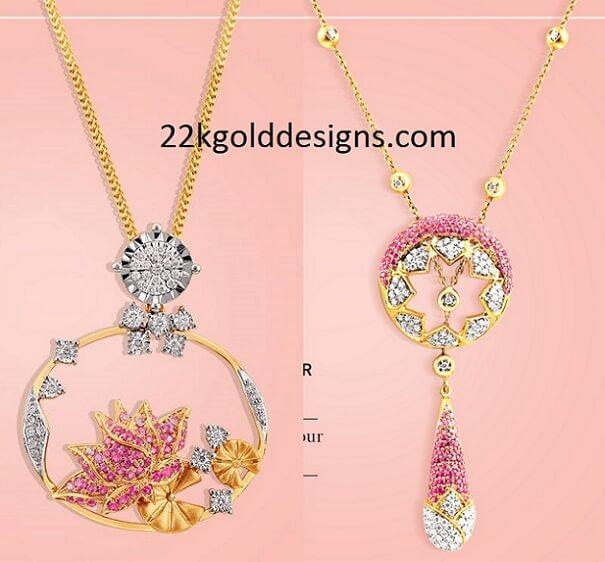 Tanishq Ruby Diamond Pendants