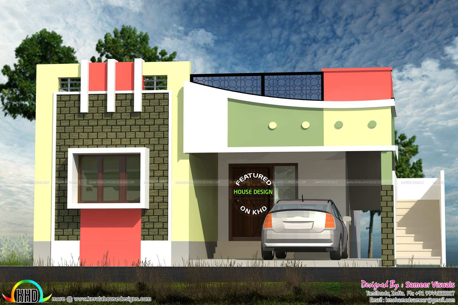 Small tamilnadu style home design kerala home design and for Home outer colour design