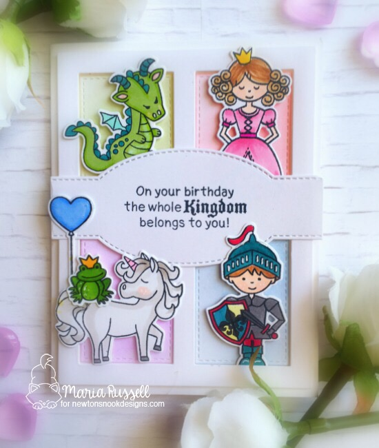 A Storybook Birthday Card by Maria Russell | Believe in Unicorns, Once Upon a Princess, and Knight's Quest Stamp Sets by Newton's Nook Designs #newotnsnook #handmade