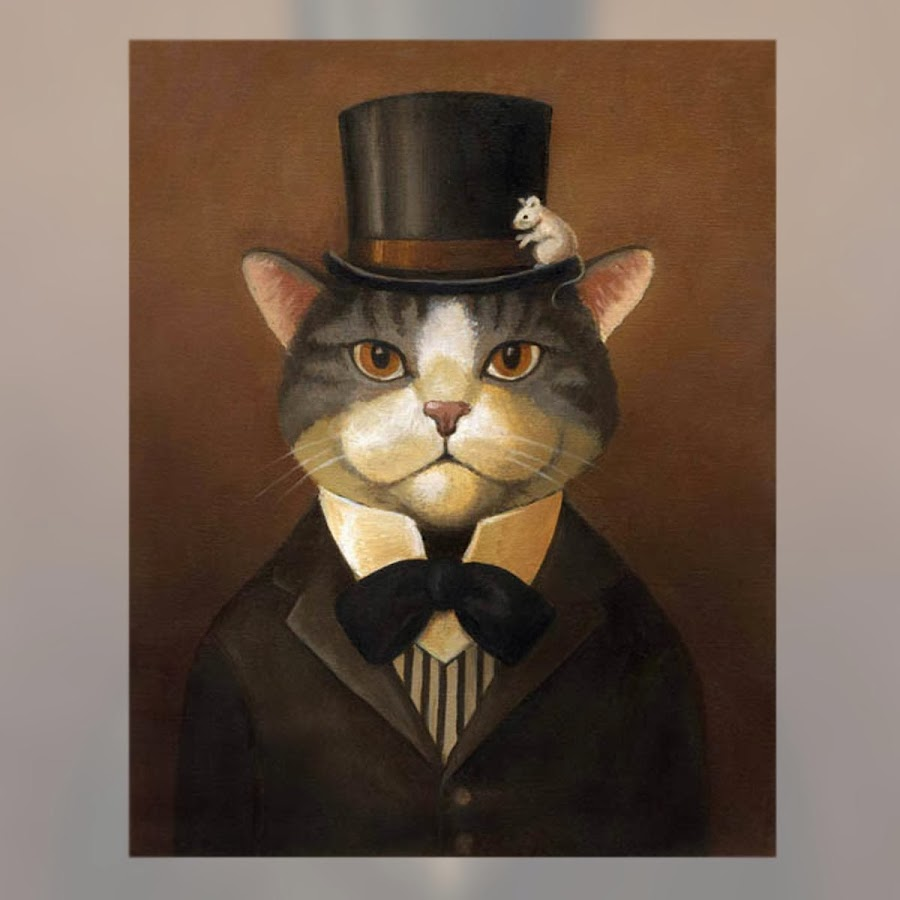 Cat portrait victorian by Liza Zador. Post by La Musa Decoración